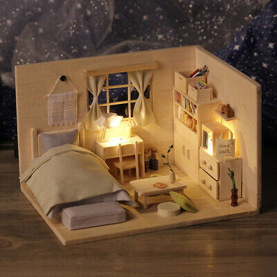 DIY Miniature Dollhouse Kit Mini 3D Wooden House Toy With Furniture Music V7R2