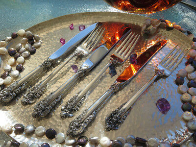 PAIR 2pc YOUTH SET KNIFE FORK WALLACE GRAND BAROQUE STERLING SILVER FLATWARE OLD