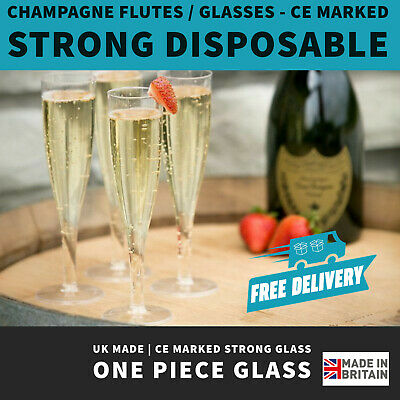 Disposable Clear Plastic 180ml Champagne Flutes | UK Made | CE Marked