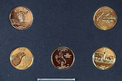 2007- D 5 Coin Set Commemorative State Quarters 24K Gold Plated Edition-- 2375