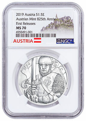 2019 Austria Silver Leopold Coin NGC MS70 FR Austria Label SKU57612