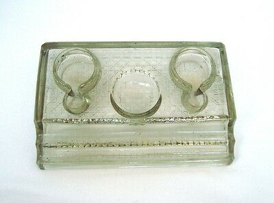 Vintage antique heavy glass inkwell Double pen stand Desk top 40s