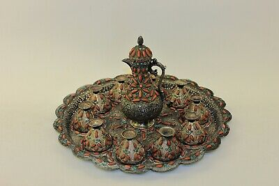 Antique Original Ottoman Islamic Perfect Coral And Silver Amazing Coffee Set