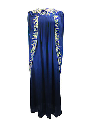 COSTUME Royal Blue Satin Toga With Cape And Silver Embroidery UK Size 10/12
