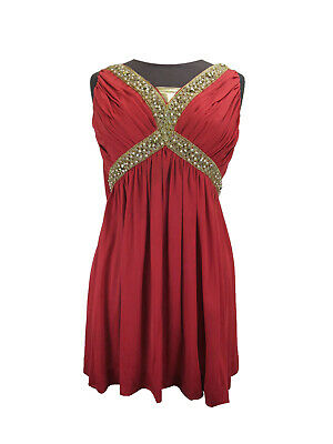 COSTUME Greek/Roman Style Red Pleated Mini Dress With Sash And Gold Beads UK 8