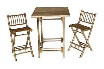 Bamboo 3-pc Bistro Set Bar Height with Square Table and 2 Folding Bar Stools
