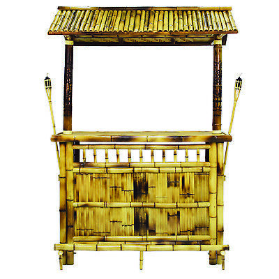 Bamboo Tiki Bar 5ft Patio Deck Indoor or Outdoor with 2 Stools and Torches
