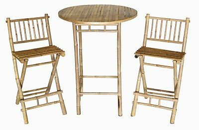 Bamboo 3-pc Bistro Set Bar Height with Round Table and 2 Folding Bar Stools