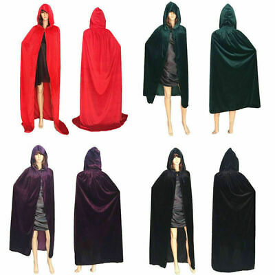 Adult Halloween Cape Hooded Cloak Fancy Dress Deluxe Wicca Props Gothic Robe LH