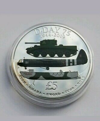 D-DAY 75th ANNIVERSARY WW2, 1944 - 2019,  Five Coloured Coin - B U.  IN CAPSULE