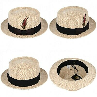 Unisex Maz Summer Straw Pork Pie Hat - Natural, 4 Sizes
