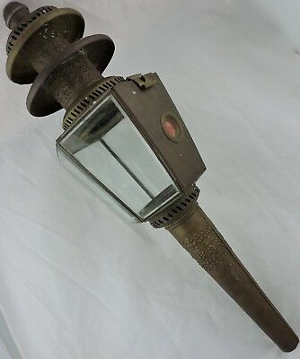 Arts Crafts Chased Candle Stake Torch Metal & Glass