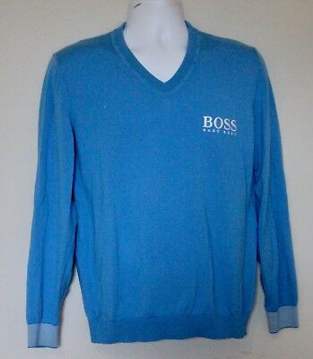 f6391a76 Vintage HUGO BOSS Blue V Neck Sweater Spell Out Large 90's Size Large