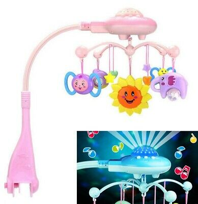 Baby Crib Mobile Bed Bell Toy Holder Arm Bracket Rotatable Music Box Cartoon Toy
