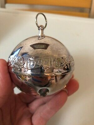 Wallace 1997 Annual Silver Plate Christmas Sleigh Bell Ball Ornament