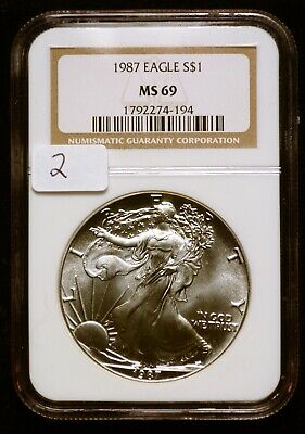 1987 Silver $1 ASE American Eagle NGC MS69 $60 VALUE (#2) Blast White & Luster!
