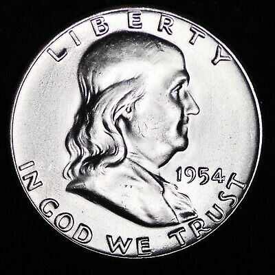 GEM UNCIRCULATED FBL 1954 Franklin Silver Half Dollar FREE SHIPPING