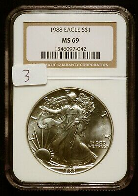 1988 Silver $1 ASE American Eagle NGC MS69 $60 VALUE (#3) Blast White & Luster!