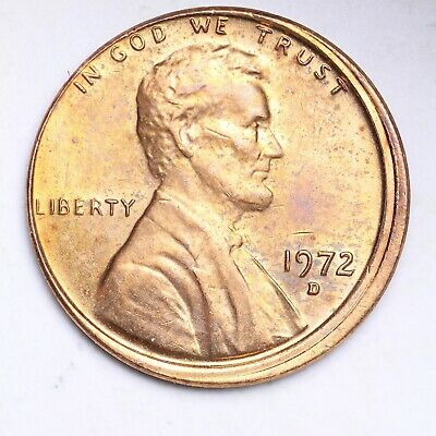 UNCIRCULATED ERROR OFF CENTER 1972 D Lincoln Memorial Cent Penny FREE SHIPPING
