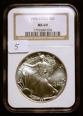 1990 Silver $1 ASE American Eagle NGC MS69 $75 VALUE (#5) Blast White & Luster!