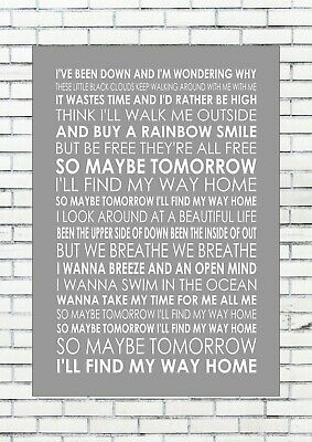 MAYBE TOMORROW - STEREOPHONICS Lyrics  Wall Art Print Poster A4