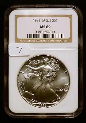 1992 Silver $1 ASE American Eagle NGC MS69 $65 VALUE (#7) Blast White & Luster!