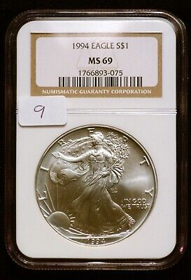 1994 Silver $1 ASE American Eagle NGC MS69 $125 VALUE (#9) Blast White & Luster!