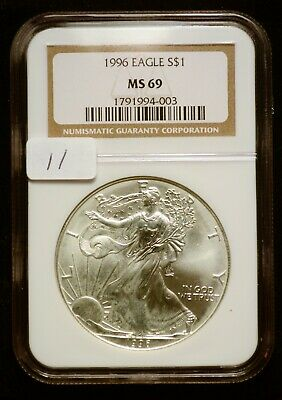 1996 Silver $1 ASE American Eagle NGC MS69 $160 VALUE (#11) Blast White Key Date