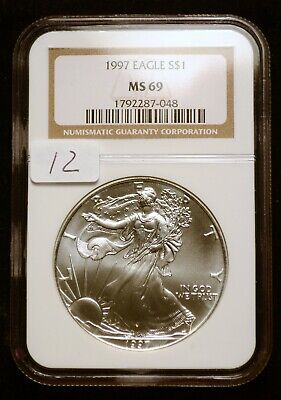 1997 Silver $1 ASE American Eagle NGC MS69 $90 VALUE (#12) Blast White Luster
