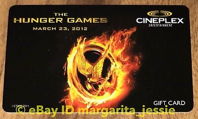 """Cineplex Collectible Movie Gift Card New """"the Hunger Games"""" 2012"""