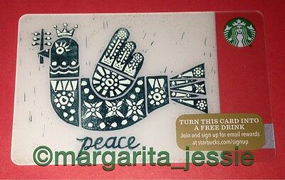 "Starbucks Us Gift Card ""peace"" 2015 New No Value 48 Series Collection 6113 Bird"
