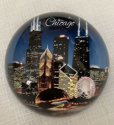 Chicago Skyline Glass Dome Paperweight by City Concepts