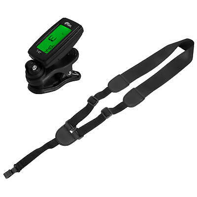 Tiger STP80-BK Ukulele Strap And T-47 Chromatic Clip On Tuner Package