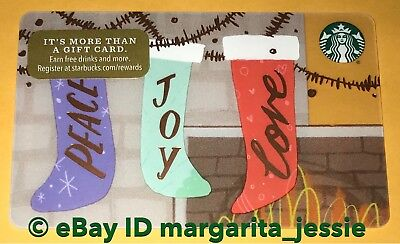 """Starbucks Us Gift Card """"Christmas Stockings"""" Holiday 2017 New No Value New #6142"""
