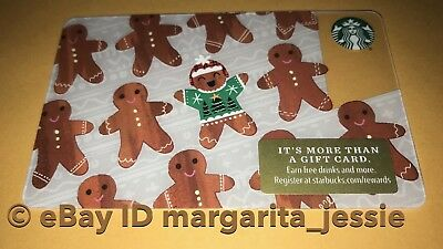 """Starbucks Us Gift Card """"gingerbread Men"""" 2017 Holiday Edition No Value New #6148"""