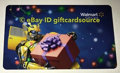 "Walmart Us Gift Card ""Transformers Bumblebee Holding Present"" 2018 No Value New"