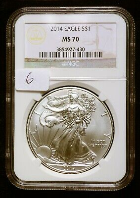 2014 Silver $1 American Eagle NGC MS70 $55 Value (#6)