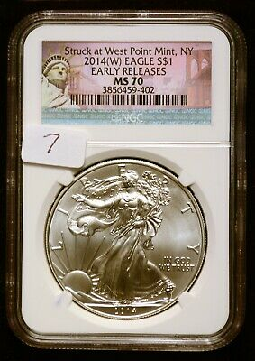 2014-W Silver $1 American Eagle NGC MS70 Early Release $62 Value (#7)