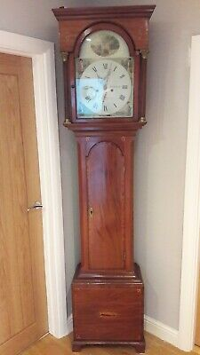 Antique Grandfather Clock With Case Mechanism, Weights And Pendulum