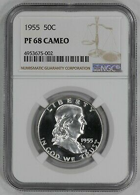 1955 Franklin Half Dollar 50C Ngc Certified Pf 68 Cam Proof Cameo (002)