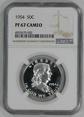 1954 Franklin Half Dollar 50C Ngc Certified Pf 67 Cam Proof Cameo (002)