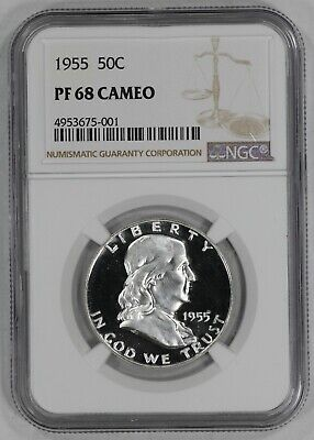 1955 Franklin Half Dollar 50C Ngc Certified Pf 68 Cam Proof Cameo (001)