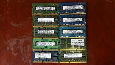 Lot of(10) 2GB DDR3 PC3 Laptop Memory RAM, Mixed Brand,Mix Speed