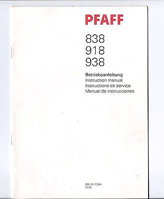 Pfaff Sewing Machine Instruction Manual for Models 838, 918 & 938 in 4 Languages