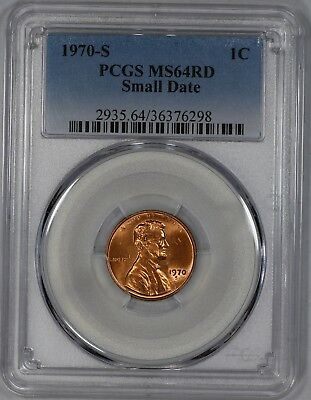 1970 S Lincoln Memorial Cent Penny Pcgs Cert Ms 64 Rd Red Small Date (298)