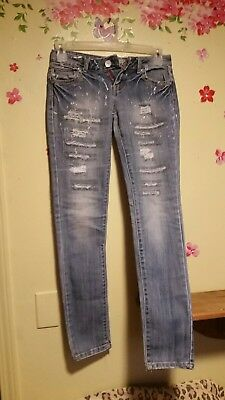 4167f5dcc6 Almost Famous Youth Teens Blue Denim Tore Up Jeans size 5
