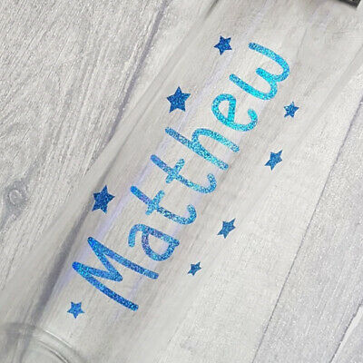 Personalised Name Custom Sticker Water Bottle stickers Disney Stars sparkly