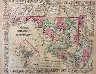 J.H. Colton's 1859 Atlas Map of Delaware and Maryland