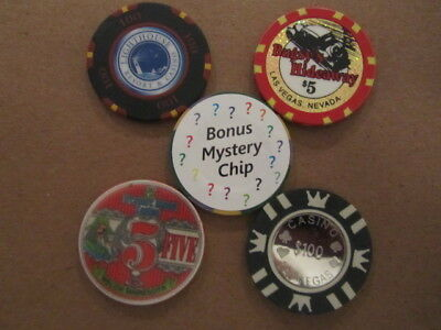 Casino CHIP LOT Coin inlay Las Vegas & Light House $5 Treasure Island Bugsys