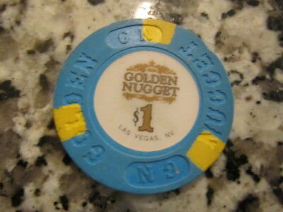 $1 GOLDEN NUGGET Casino Chip White Center Design + FREE Las Vegas Mystery Poker